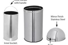 Stainless Steel Push Can Dust Bin